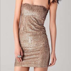 NWT Alice + Olivia Sequined Rigby Dress gold 6
